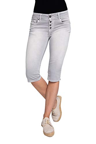 Coccara Damen Capri Hose Non Denim Cropped Slim Fit Curly Button, Größe:W32, Farbe:CN1024 - Grey