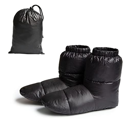 Kuashidai Zapatillas de plumón de ganso de alta calidad, impermeables con cierre de cordón para el pie relleno para interiores o exteriores, Negro, M