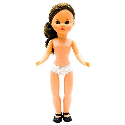 Folk Artesanía Muñeca Sintra Desnuda 42 cm Nuevo Modelo Mejorado. Patrones Corte Incluidos. Similar Nancy Famosa (Morena Ojos Marrones)