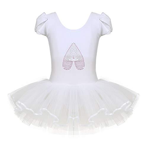 TiaoBug Kinder Ballettkleidung - 3 Modells - Mädchen Ballettkleid Kurzarm Ballettanzug mit Ballett Tutu Tütü und Innenslip Shorts Kostüm Outfit Gr.92-128 Ivory 110-116