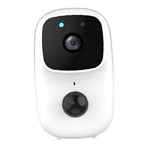 NiceJoy Cámara inalámbrica Wi-Fi al Aire Libre cámara anidada Timbre Inteligente de la batería de la cámara de visión Nocturna Visual grabación Antirrobo Timbre de la Puerta Blanca