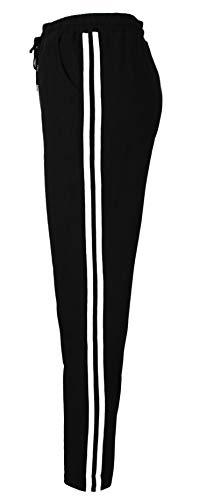 Emma & Giovanni - Sporthose Streifen Freizeithose Jogging Hose Traininghose Fitness - Damen (Weiß, DE 38 (Herstellergröße S-M))