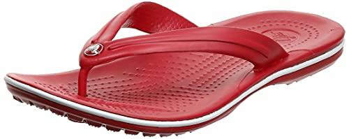 Crocs Unisex Men's and Women's Crocband Flip Flops | Adult Sandals, Pepper/White, 10 US