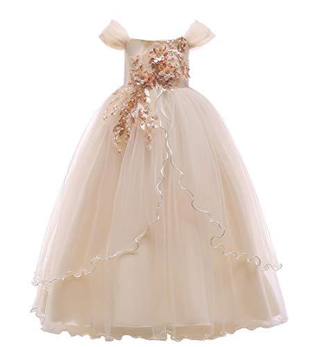 Happy Cherry - Vestido de Fiesta de Princesa Elegante con sin Manga para Niñas Vestidos de Bautizos con Múltiples Capas Beige - Talla 140/ES 8-9 Años