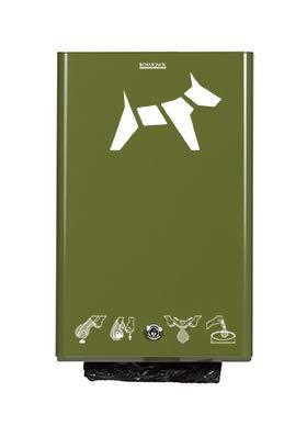 Rossignol Hygeca Distributeur de Sacs à déjections Canines en Acier Fixation Murale 5 Couleurs Vert Clair