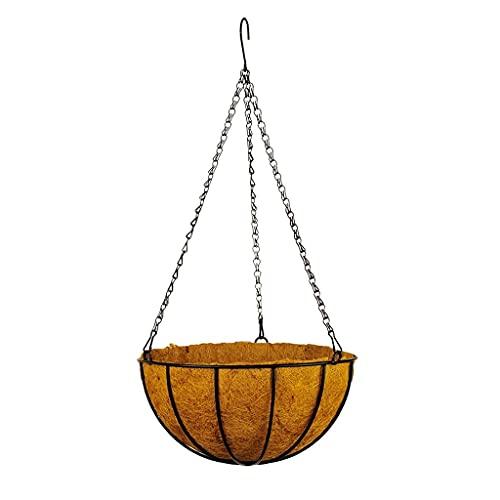 Macetas colgantes y cestas para colgar macetas de hierro con forros de coco, soporte para plantas de alambre para decoración de jardín en interiores y exteriores, macetas colgantes para plantas
