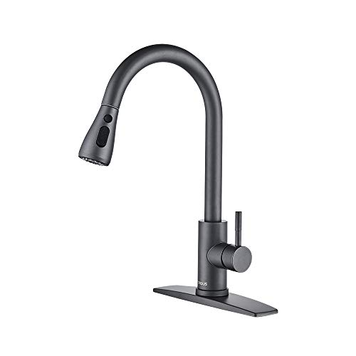 FORIOUS Gray Kitchen Faucet with Pull Down Sprayer, High Arc Single Handle Kitchen Sink Faucet with Deck Plate, Commercial Modern Rv Stainless Steel Kitchen Faucets, Grifos De Cocina