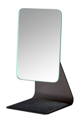 WENKO Kosmetikspiegel Frisa Black - Standspiegel, Spiegelfläche: 14 x 20 cm 100 % Vergrößerung, Stahl, 14 x 27.5 x 15 cm, Schwarz