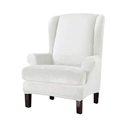 GEBIN Samt Sesselbezug, Sessel-Überwürfe Ohrensessel Überzug Bezug Sesselhusse Elastisch Stretch Husse Für Ohrensessel (Weiß)