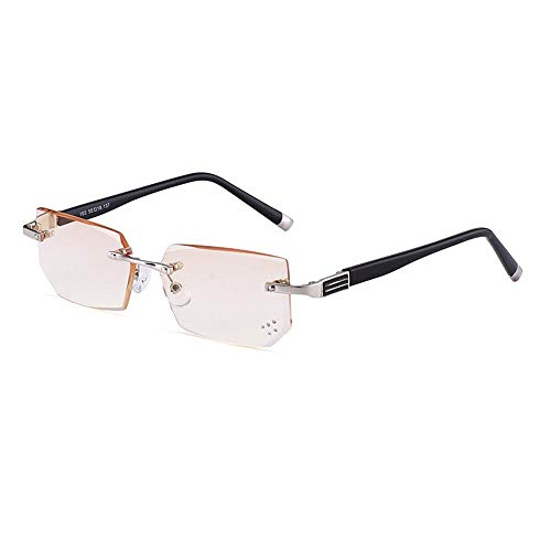 CLOUD Rahmenlose Lesebrille, Diamond Cut Edge Anti-Blu-ray HD Anti-Fatigue Fashion Herren-Lesebrille/Braune Linse (Dioptrien + 1,0 ~ + 3,5) Black-+2.0