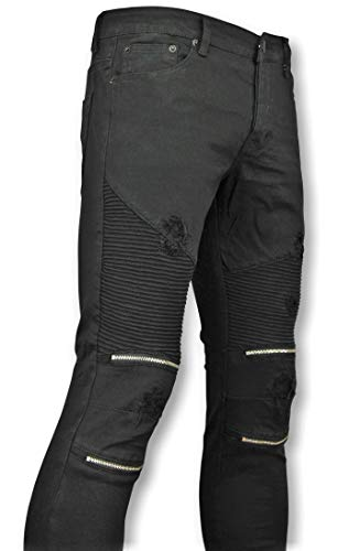 Zwarte Skinny Biker Jeans Met Scheuren Heren - 3011