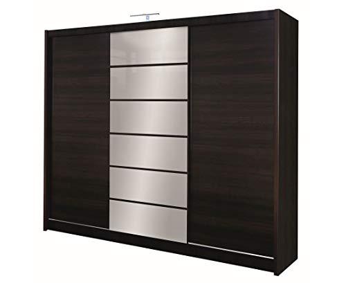 Furniture24_eu Kleiderschrank Schwebetürenschrank Schlafzimmerschrank Malibu (Wenge/Spiegel)