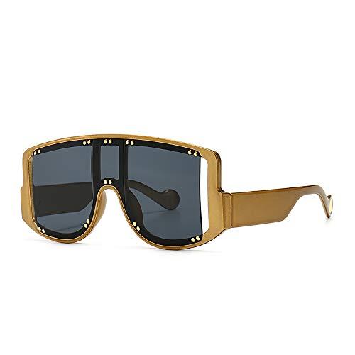 NXMRN Gafas De Sol Nuevas Gafas De Sol Steampunk De Gran Tamaño Para Mujer, Gafas De Sol Punk Cuadradas Vintage Para Hombre, Gafas De Hip Hop De Una Pieza, Remache-oro