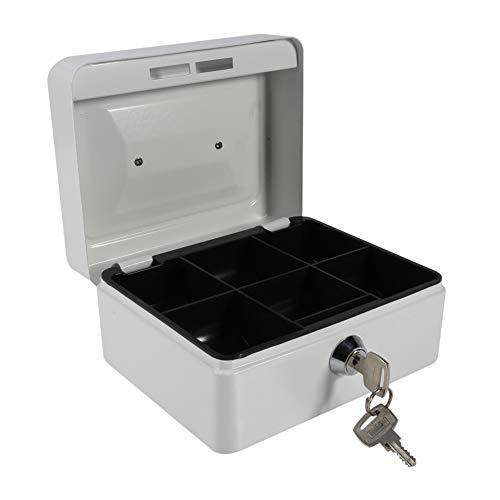 VIFERR Mini kassaskåp, bärbart stål småligt låsbart kontanter mynt robust säker säkerhetsbox hushåll 1 st för kontanter smycken (färg: Vit)