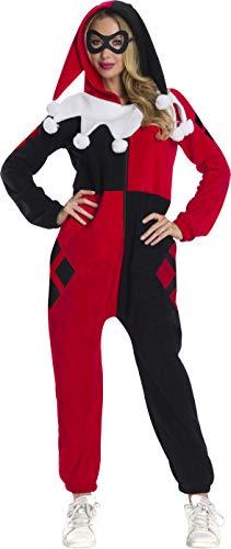 Rubie's DC Super Heroes Women's Harley Quinn Onesie Costume, As Shown, Large