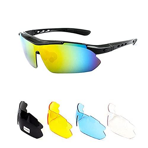Sebami - Gafas de sol polarizadas para ciclismo, con 5 lentes intercambiables, para golf, pesca, senderismo, montañismo y ciclismo (negro +5 lentes)