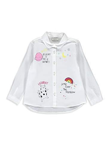 LC WAIKIKI Mädchen Popelin Hemd mit Aufdruck 7y-8y Weiß 100% Baumwolle