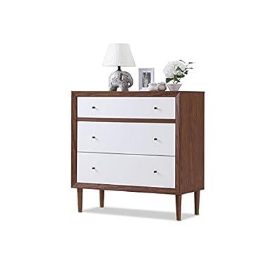 Baxton Furniture Studios Harlow Mid-Century Wood 3 Drawer Chest, Medium, White and Walnut
