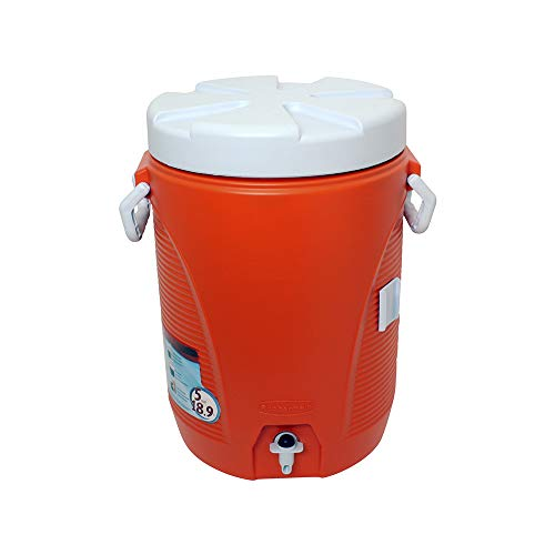 5 Gallon Water Cooler, 12-1/2'x12-1/2'x18-3/4', Orange/White, Sold as 1 Each