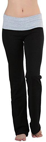 ToBeInStyle Women's Fold-Over Waistband Semi-Flare Yoga Pants - Heather Grey - L