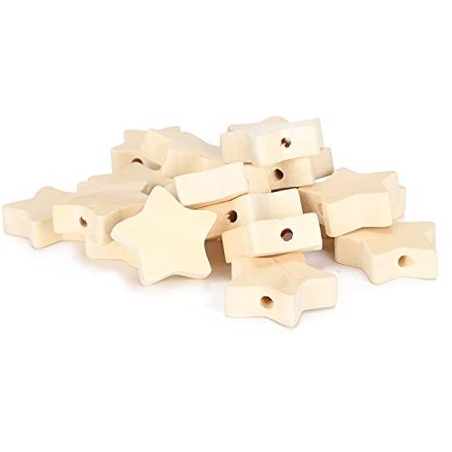 Cuentas de madera de estrella de cinco puntas de bricolaje cuentas de madera natural materiales de abalorios hechos a mano de bricolaje creativos para joyería de niños cuentas de madera sueltas