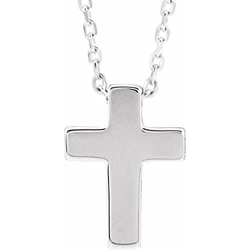 Collar de plata de ley 925, 15 x 10,8 mm, con cruz religiosa, para mujer