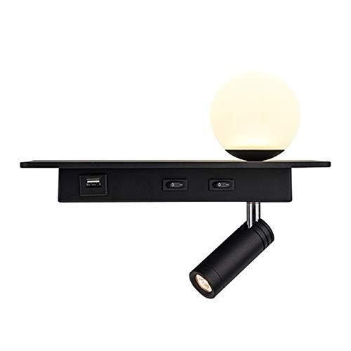 LEIKAS Lámpara de Lectura de Pared, lámpara de Pared con Interruptor Doble, lámpara de Pared 2 en 1, iluminación de Pared con Carga USB, 3W/LED/3000K/Warm WH