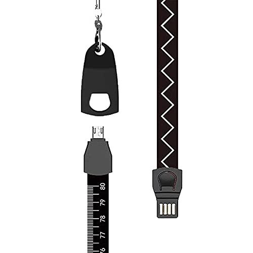 2021 Nuevo Cordón De Cable De Datos Multifunción 3 En 1, Regla De Medida Trenzada Portátil Adaptador De Cable De Carga Retráctil Anti-curvatura Para Múltiples Dispositivos (black)