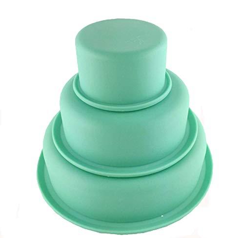 Voarge 3er Set Silikon Rund Kuchenform Tortenbackform Silikonbackformen für Kuchen und Torten zum Backen, Tortenformen 3-er Set, 7, 14 und 19 cm Silikon, grün