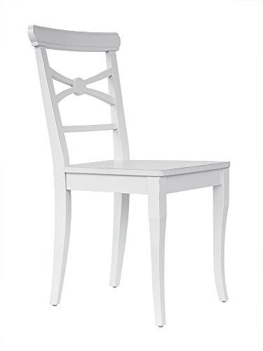abritus Stuhl Esszimmerstuhl Holzstuhl Lehnstuhl Küchenstuhl Buche Massiv weiß Used-Look F011