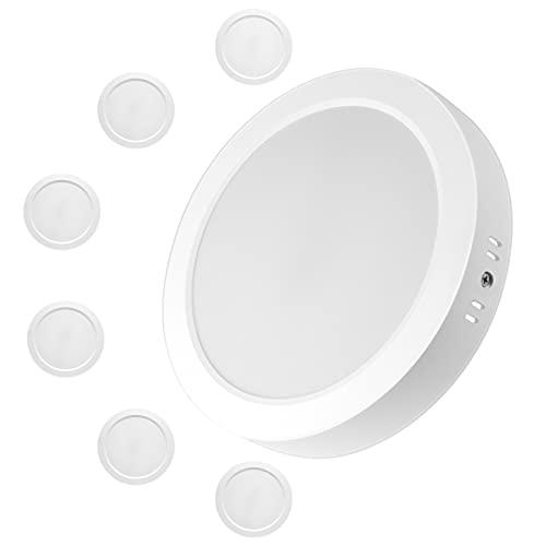 6x Spot LED en Saillie Rond Eande 12W Spot Plafond Blanc Plafonnier Spot LED Downlight Moderne Blanc Froid 6000K Spot Encastrable 500LM Luminaires Intérieur Salon Cuisine Couloir Chambre Entrée Ø175mm