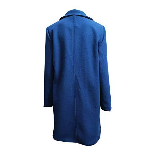 Office Damen Blend Mantel Slim Solid Coat und Jacke Doppelreiher Mantel Gr. Large, navy