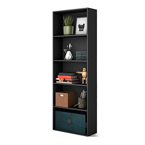 COSTWAY 170cm Bücherschrank mit 5 Ebenen, Bücherregal Holz, Aktenregal mit offenem Stauraum, Aufbewahrungsregal, Büroregal für Bücher, CDs, Pflanzen und Fotos (Schwarz)