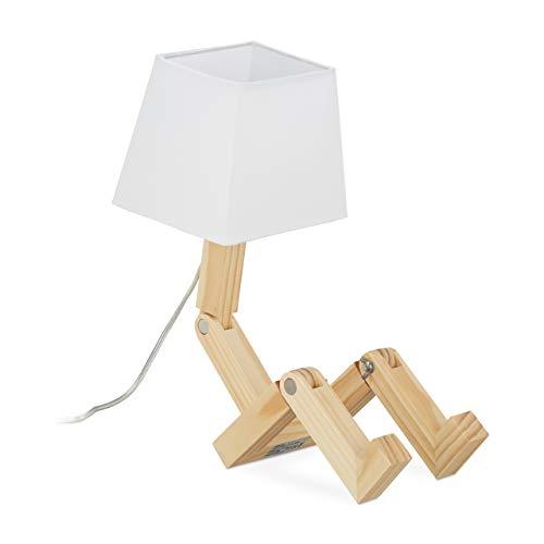Relaxdays Tischlampe Roboter, verstellbar, Lampenschirm, originell, Schreibtischlampe HxBxT: 42x18x32 cm, Holz, natur