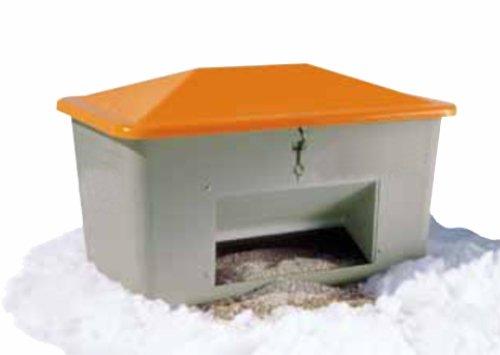 GFK-Behälter 200L = 890x590x670mm grau/orange mit Entnahmeöffnung
