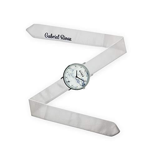 Gabriel Rivaz Armbanduhr mit Schal, Armband aus Seide, Marmor, japanisches Uhrwerk, Weiß