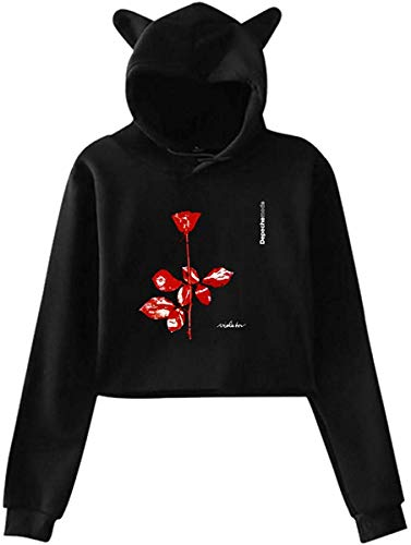 Depeche Mode Damen Cat Ear Hoodie Sweater Bequemes Langarm T-Shirt S