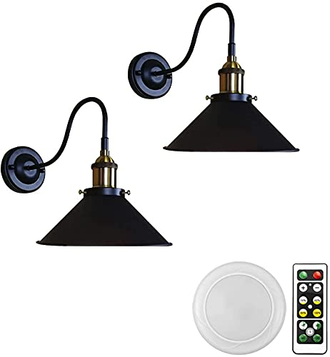 LUFISH 2-Wall Light Battery Run Remote Control No Wired Retro Industrial Black Wall Lamp Lighting Fixture Wall Decor for Indoor Staircase Laundry-Easy to Install,Dimmer,Battery Not Included