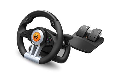 Krom K-WHEEL - NXKROMKWHL - Juego de volante y pedales Multiplataforma, palanca de cambios y levas en el volante, efecto vibracion, compatible PC, PS3, PS4 y...
