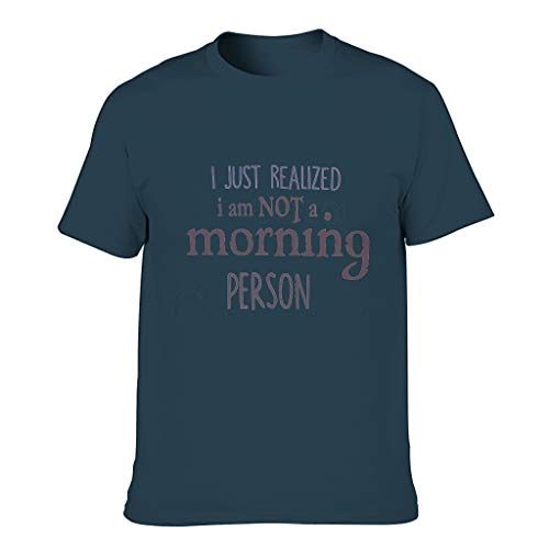 BTJC88 Men Not a Morning Person Cotton T-Shirts - Sarcasm Funny Saying Summer Casual Shirt Navy 2XL