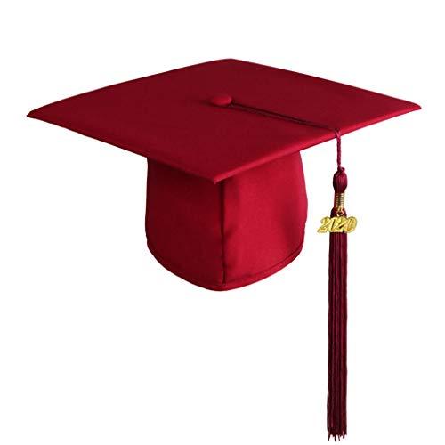 Inawayls Erwachsene Abschluss Hut Doktorhut Studentenhut mit Quaste 2020 Jahreszahl Anhänger für High School & Bachelor