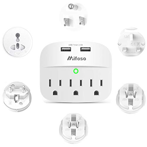 World Travel Adapter Kit, Universal Plug Adapter with 3 Outlet 2 USBPort Outlet Extender Cruise Power Strip Surge Protector for US, EU, UK, China, Australia, Japan Perfect for Laptop, Phone, Cameras