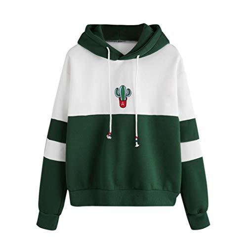 iHENGH Sweatshirt, Damen Long Sleeve Cactus Print Hoodie Sweatshirt Kapuzen Pullover Tops Bluse S-XL