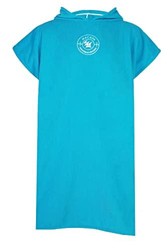 MACAPA Poncho Surf, toalla de cambio para hombre o mujer, de microfibra, para cambiar en la playa, deportes náuticos, piscina, viajes, color azul Ocean Calm, bolsa de transporte (80 x 110 cm)