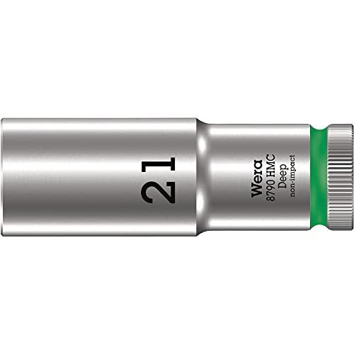 Wera 05004561001 Llave de Vaso 1/2', Verde fosforito, 21 mm