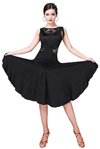 ZX Vestido de baile de salón para mujer con flecos de encaj