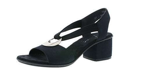 Rieker 64673 Damen Sandaletten,Sommerschuhe,offene Absatzschuhe,hoher Absatz,feminin,pazifik/schwarz/14,36 EU / 3.5 UK