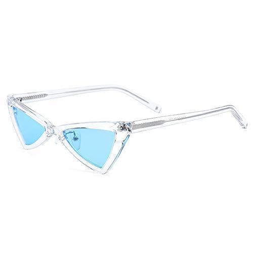 Zhhhk Nuevo Borde Pequeño Gafas De Sol Polarizadas Gafas Triangulares De Moda Mujer Placa Retro Gafas De Sol Ojo De Gato Marco Transparente Lente Azul Protección UV400