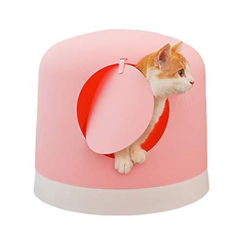 Catter Völlig Geschlossen Groß Katzenstreu Tablett Ecke Kapuze WC-Box Trennen Anti-Splash Einfach zu Säubern Katzentoilette, 45x40cm,Pink