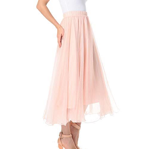 TEERFU - Falda larga de gasa plisada para mujer Rosa rosa 48